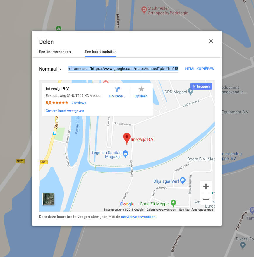 Insluitcode kopieren Google Maps