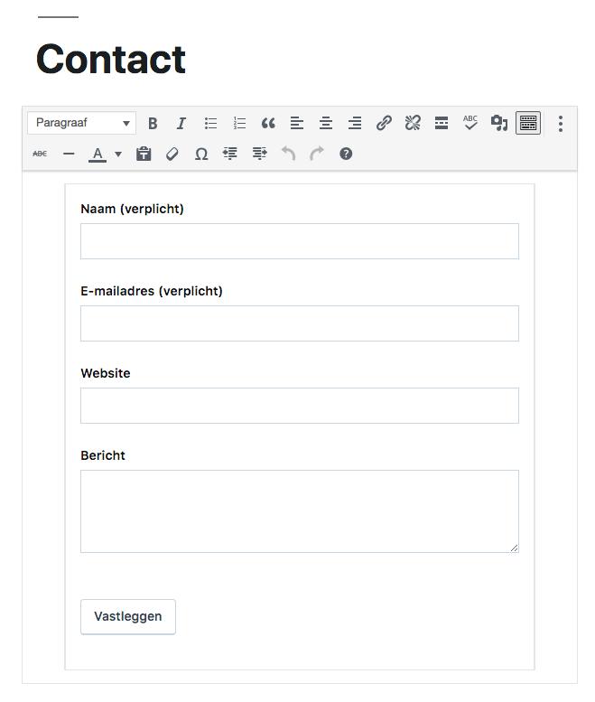 Instellen Jetpack contactformulier in WordPress