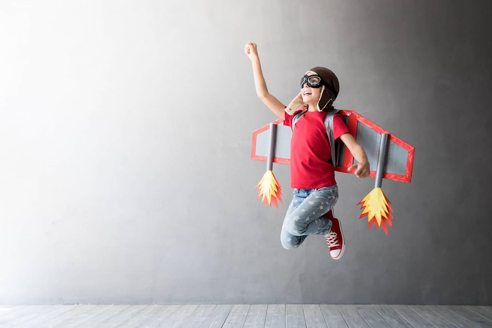 Jongen met een Jetpack