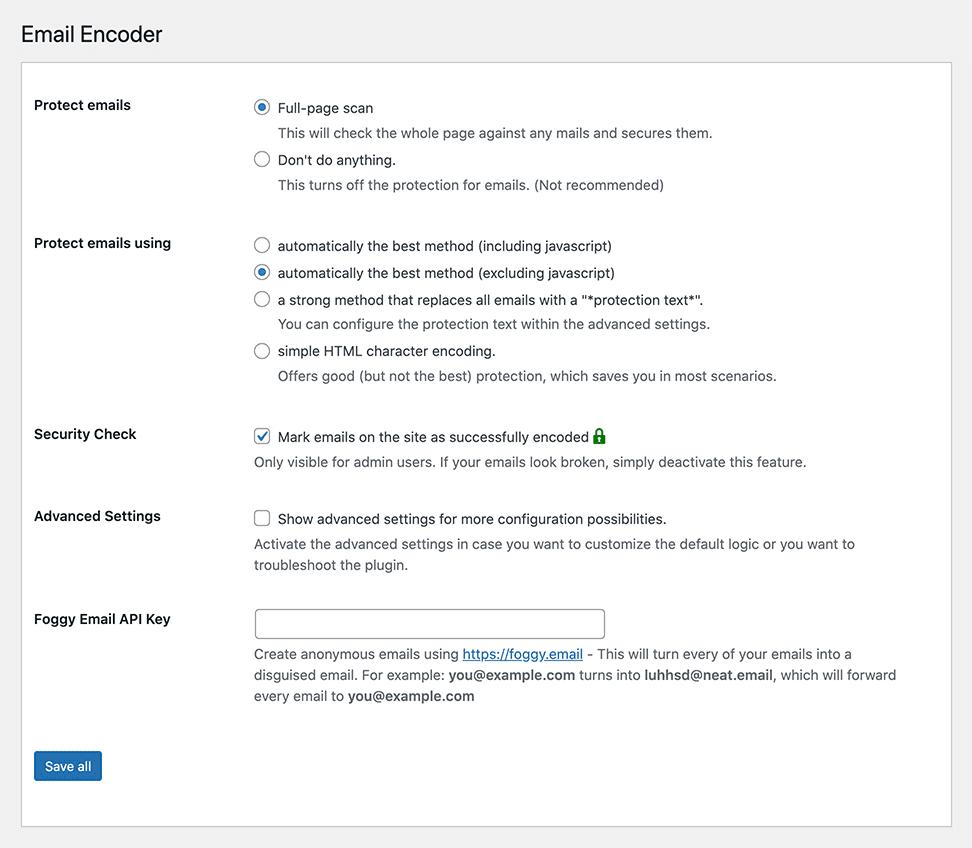 Email Encoder instellingen